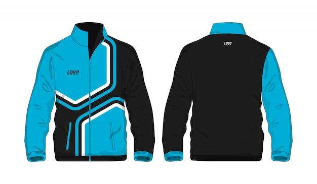白い背景のデザインのスポーツジャケットの青と黒のテンプレート。ベクトルイラストeps 10。