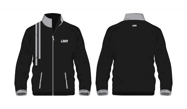 白い背景のデザインのスポーツジャケットグレーと黒のテンプレートシャツ。ベクトルイラストeps 10。