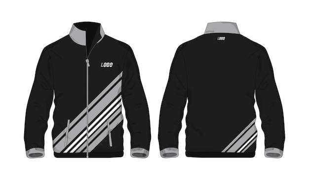 Спортивная куртка серо-черная рубашка шаблона для дизайна на белом фоне. векторная иллюстрация.