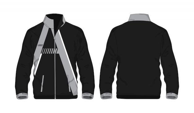 スポーツジャケットデザインのグレーと黒のテンプレートシャツ。