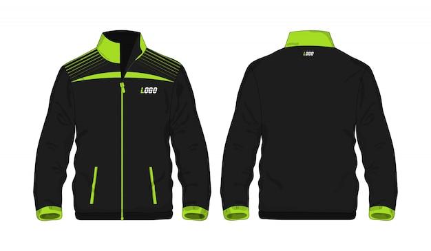 白い背景のデザインのスポーツジャケットの緑と黒のテンプレート。ベクトルイラストeps 10。