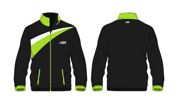 Спортивная куртка зеленый и черный шаблон для дизайна на белом фоне. векторная иллюстрация eps 10.