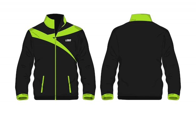 白い背景のデザインのスポーツジャケットの緑と黒のテンプレート。