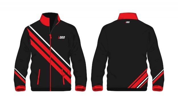 白い背景のデザインのスポーツジャケットの赤と黒のテンプレート。