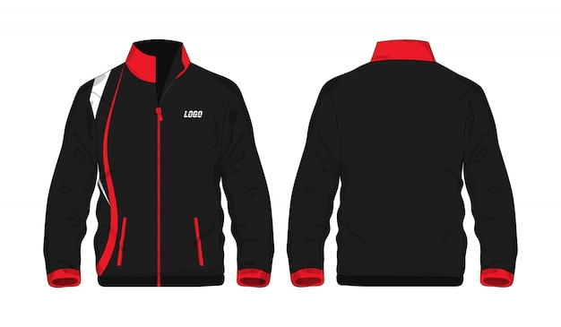 흰색 배경에 디자인에 대 한 스포츠 자 켓 빨간색과 검은 색 템플릿.