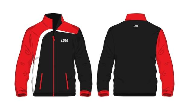 Спортивная куртка красно-черная рубашка шаблона для дизайна на белом фоне. векторная иллюстрация.