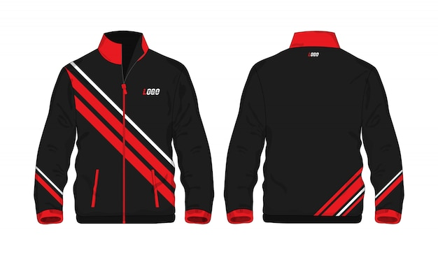 Sport jacket red and black template for design on white background.