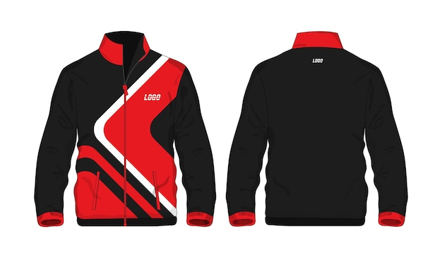 Sport jacket red and black template shirt for design on white background. vector illustration.