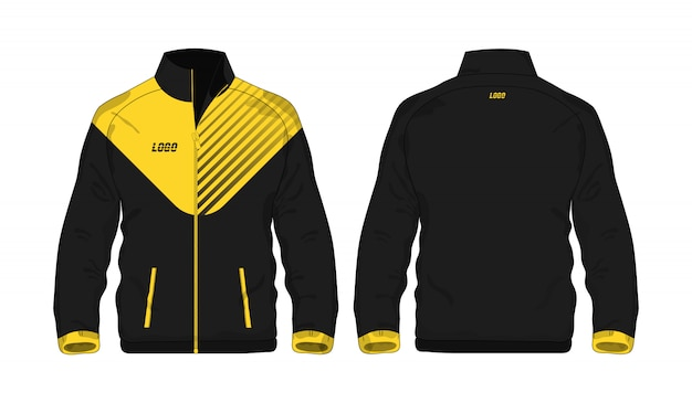白い背景のデザインのスポーツジャケットの黄色と黒のテンプレート。