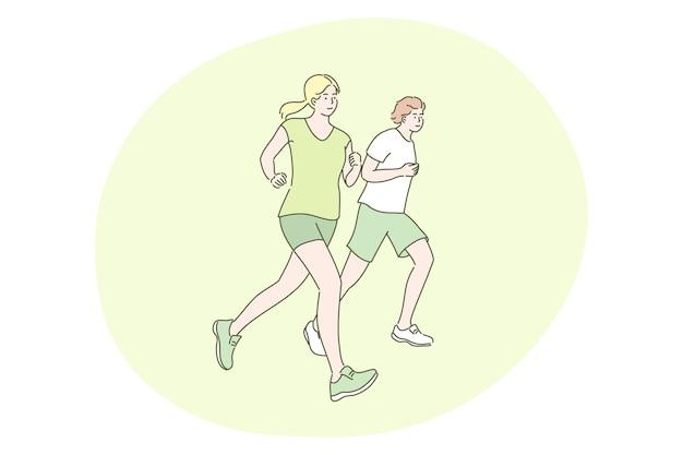 スポーツ、ジョギング、トレーニングのコンセプト。