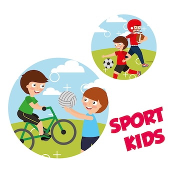 Sport kids activity bycicle volleyball soccer