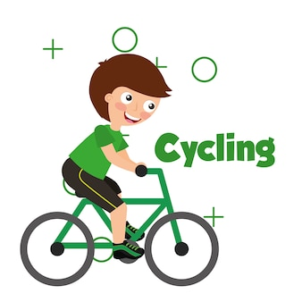 Sport kids activity cycling boy riding bycicle