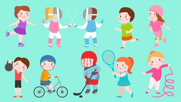 Sport kids characters boys and girls  sportsmen play games kids activity children playing various sports games hockey, football, gymnastics, fitness, tennis, basketball, roller skating, bike