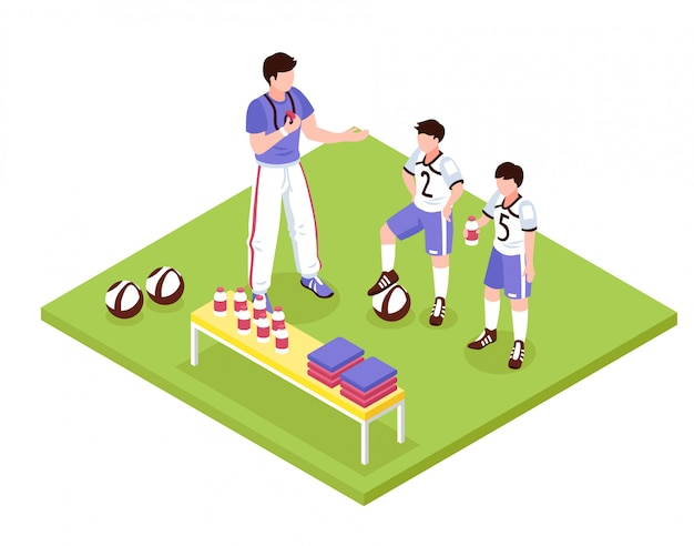 Sport kids isometric composition