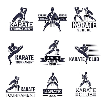 Sport labels set for fighting club, karate and martial arts