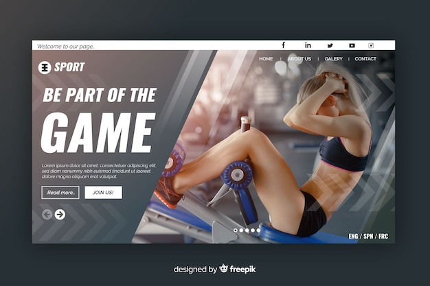 Sport landing grey page with photo and geometric shapes