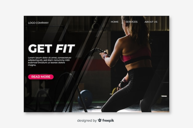 Sport landing page concept for template