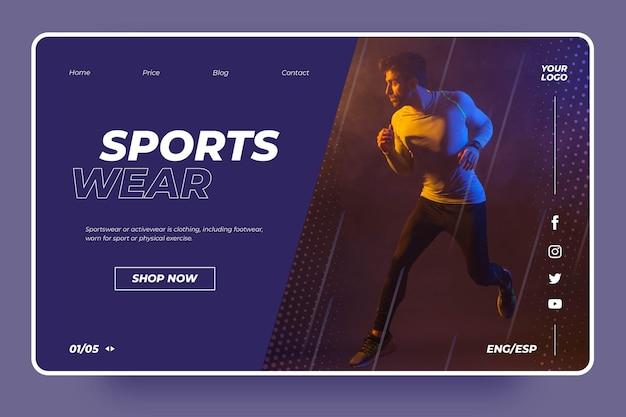 Concetto di pagina di destinazione sportiva