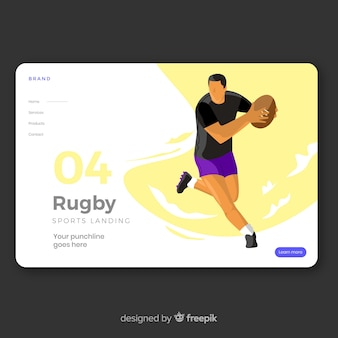 Sport landing page flat design