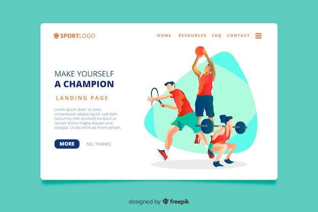 Спортивная целевая страница плоского дизайна
