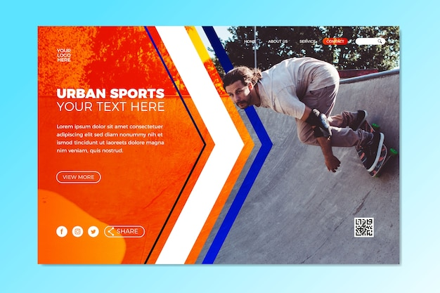 Sport landing page template with image