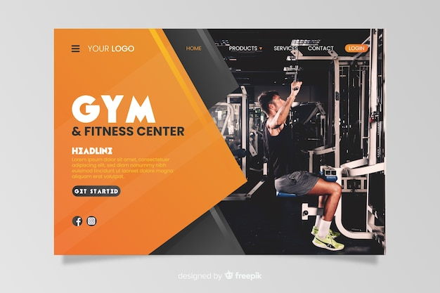 Sport landing page template with photo