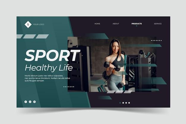 Modello di landing page sportiva con foto