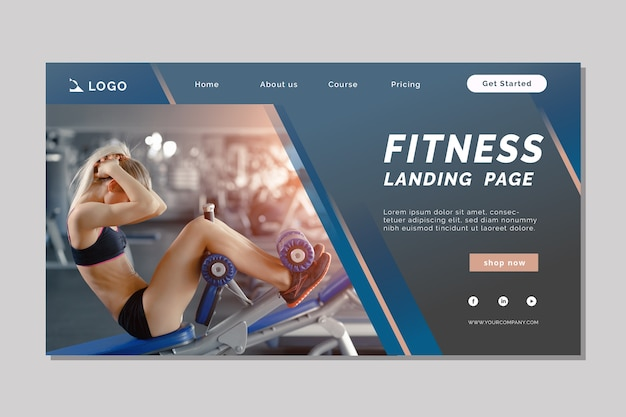 Sport landing page template with pic