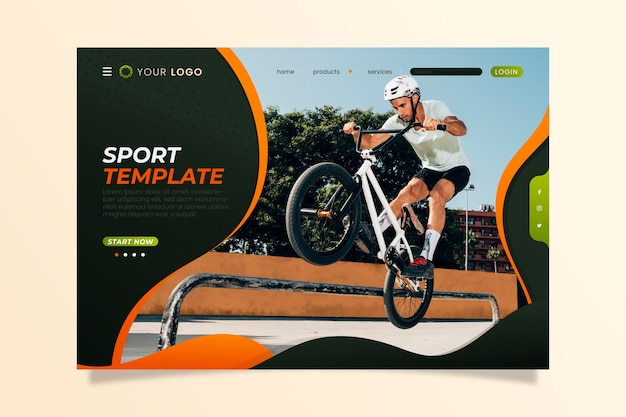Sport landing page template with picture