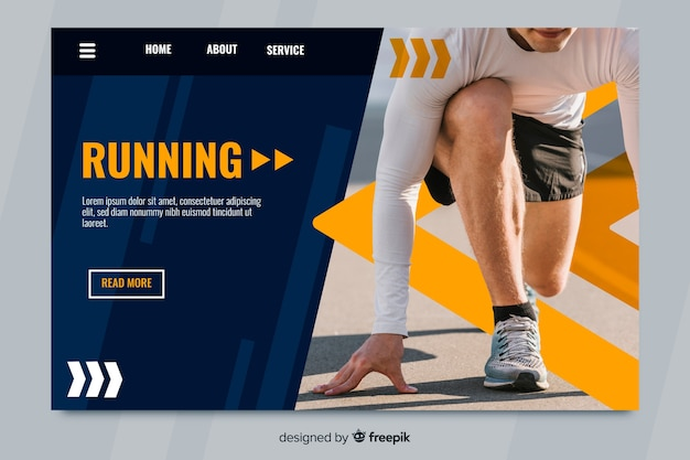 Sport landing page with athlete