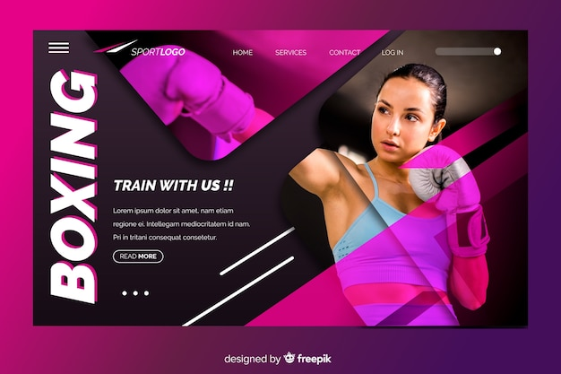 Sport landing page with boxing