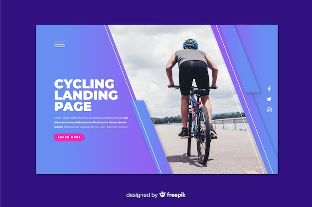Sport landing page with cycling