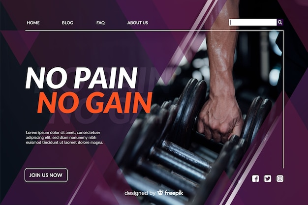 Sport landing page with dumbells photo
