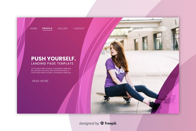 Sport landing page with girl on skateboard photo
