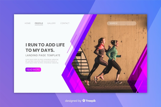 Sport landing page with girls running photo