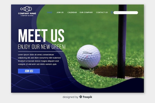 Sport landing page with golf photo