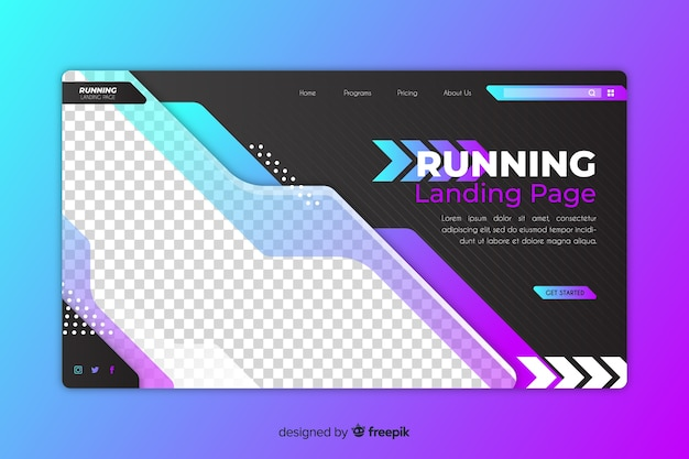 Sport landing page with gradient