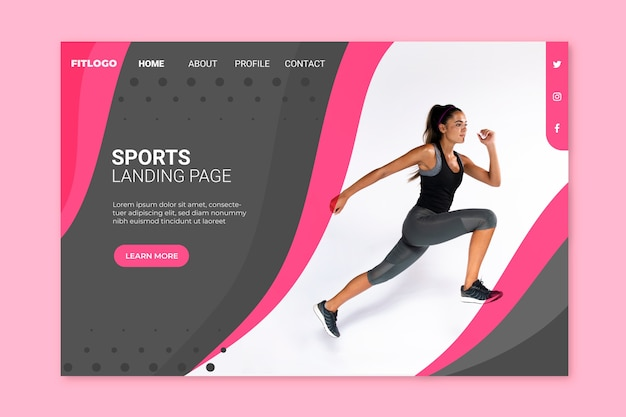 Sport landing page with image template
