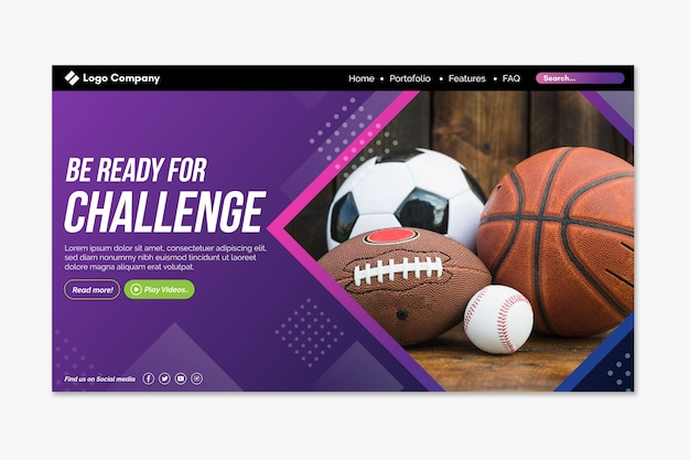 Sport landing page with image