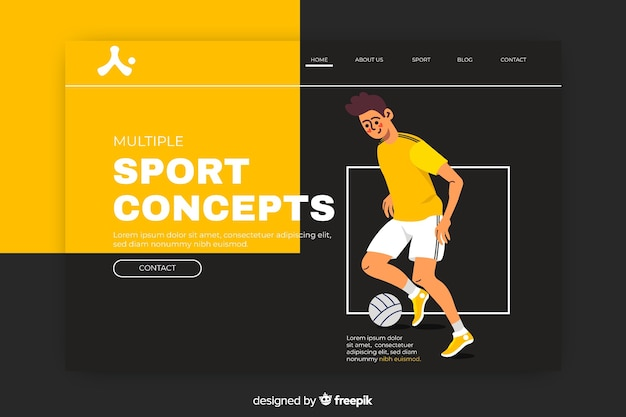 Sport landing page with man playing football