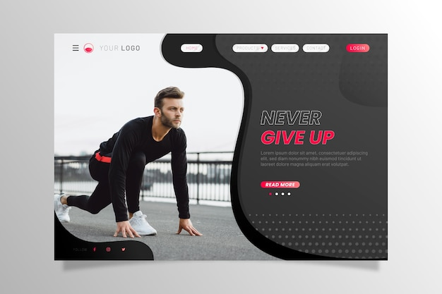 Sport landing page with man ready to run