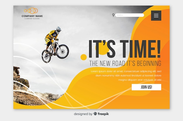 Sport landing page with motorcycle photo Free Vector