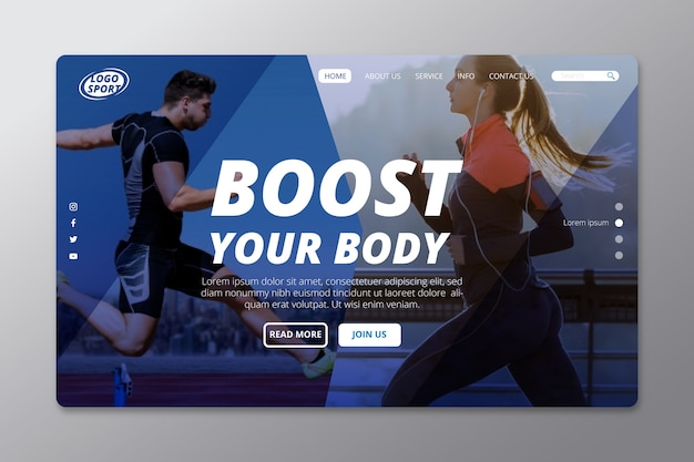 Sport landing page with people running photo