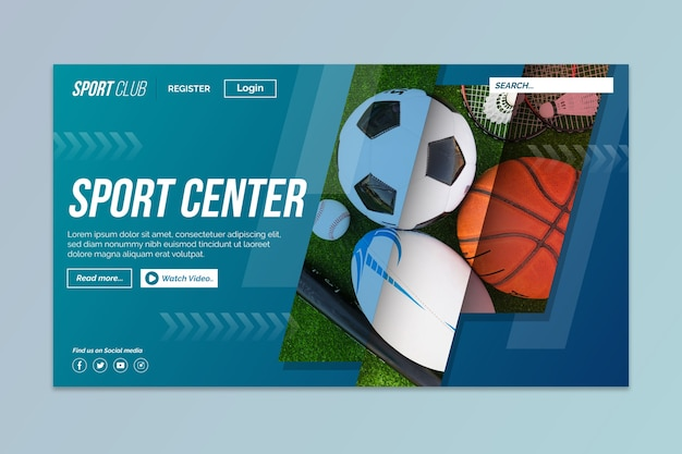 Sport landing page with photo of different balls