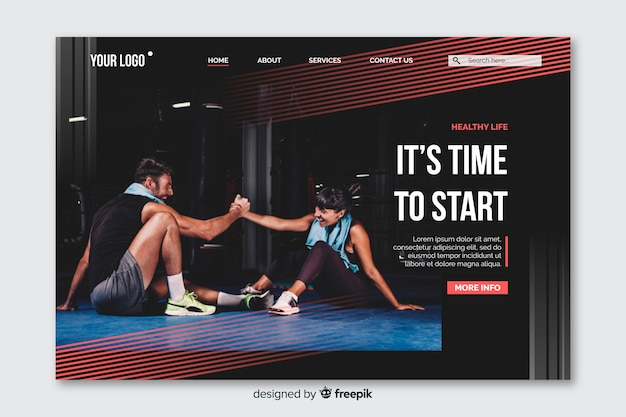 Sport landing page with photo and fading red lines