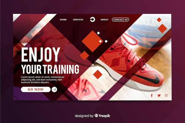 Sport landing page with photo and geometric shapes