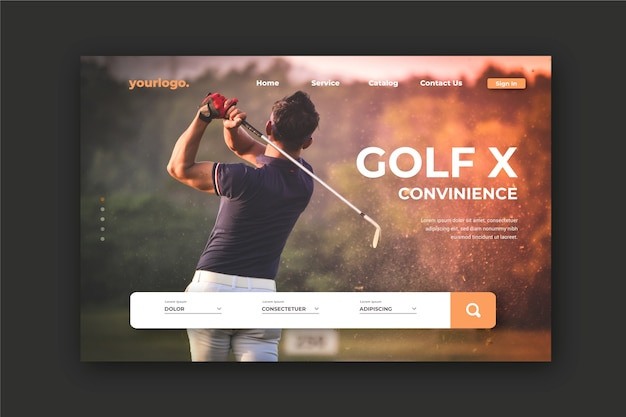 Sport landing page with photo of man playing golf