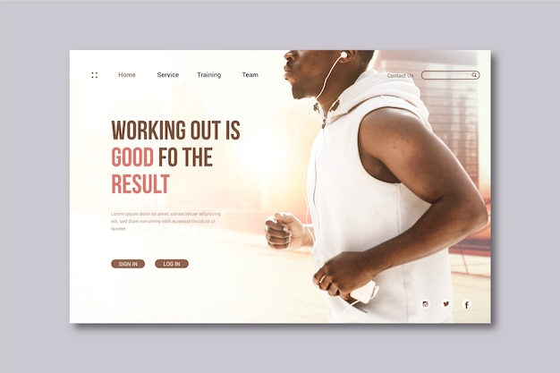 Sport landing page with photo of man running