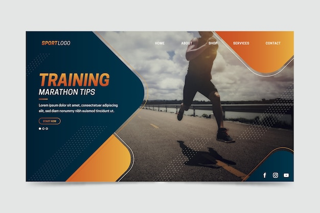 Sport landing page with photo of man training