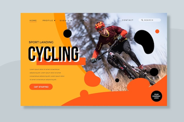 Sport landing page with photo template